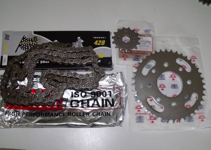 Kit-chaine Honda 125CG BR 83 à 97, 14x42, ISO 9001, prix iscount