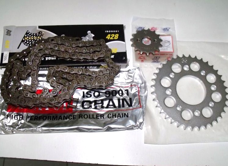 Kit-chaine 428H normes ISO: Honda 125CBS3 & CBN en 15x35 dents,